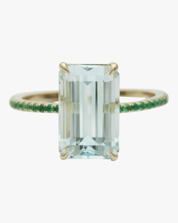 Aquamarine and Emerald Spring Ring