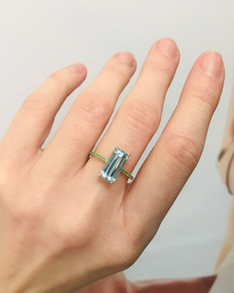 Aquamarine and Emerald Spring Ring