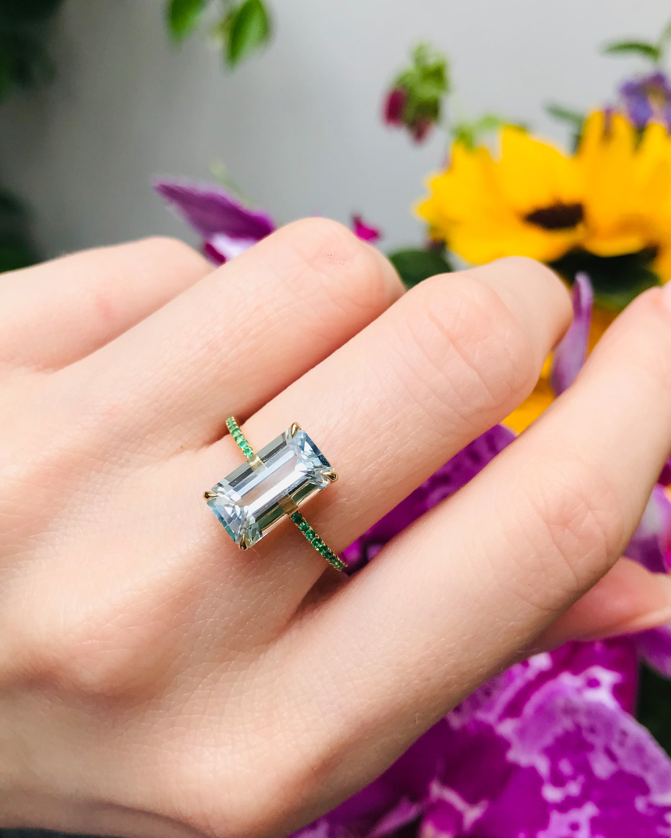 Yi Collection Aquamarine and Emerald Spring Ring 2