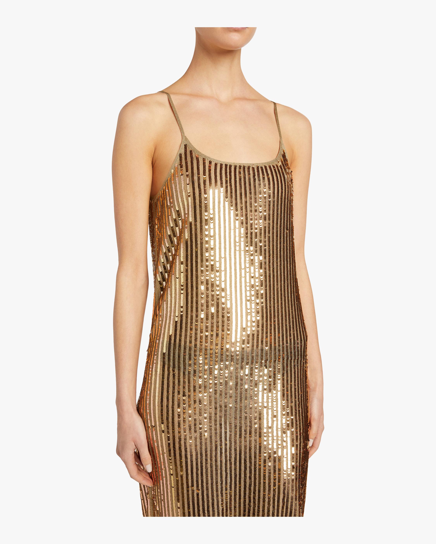 Gold Sequins Venus Dress Tanya Taylor