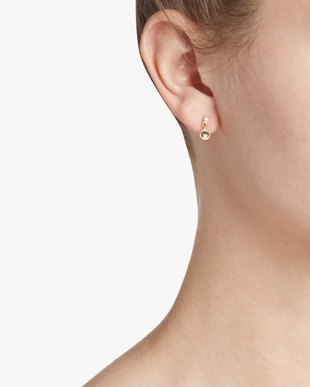 Circle Diamond Mirror Dangle Single Earring