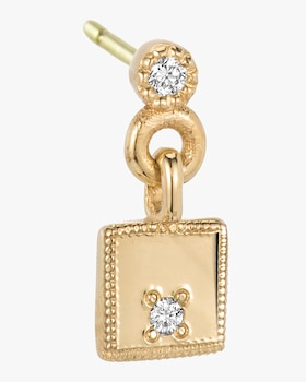 Square Diamond Mirror Single Dangle Earring