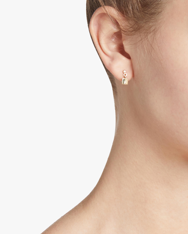 Square Diamond Mirror Single Dangle Earring