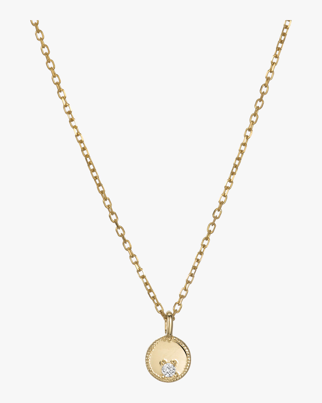Circle Diamond Mirror Pendant Necklace