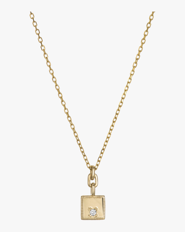 Square Diamond Mirror Pendant Necklace