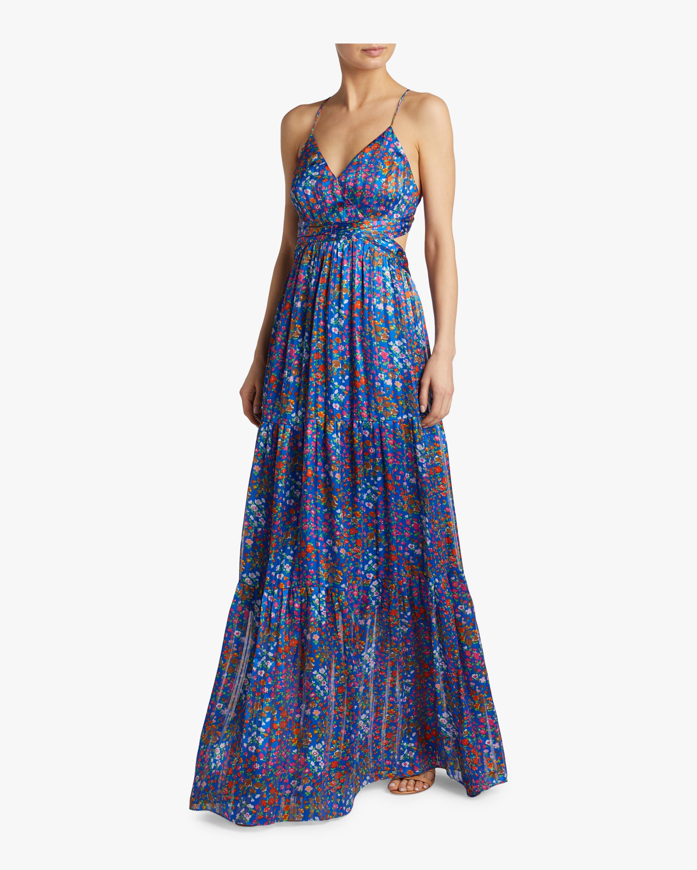 Rosy Floral Satin Maxi Dress