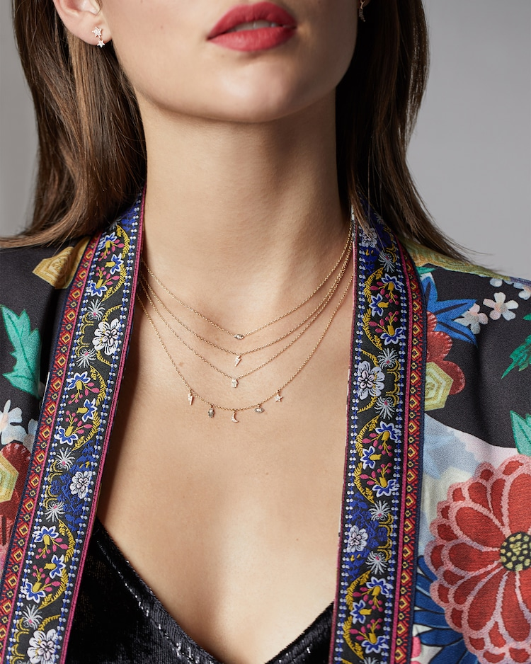 Itty Bitty Vertical Hamsa Necklace Zoë Chicco