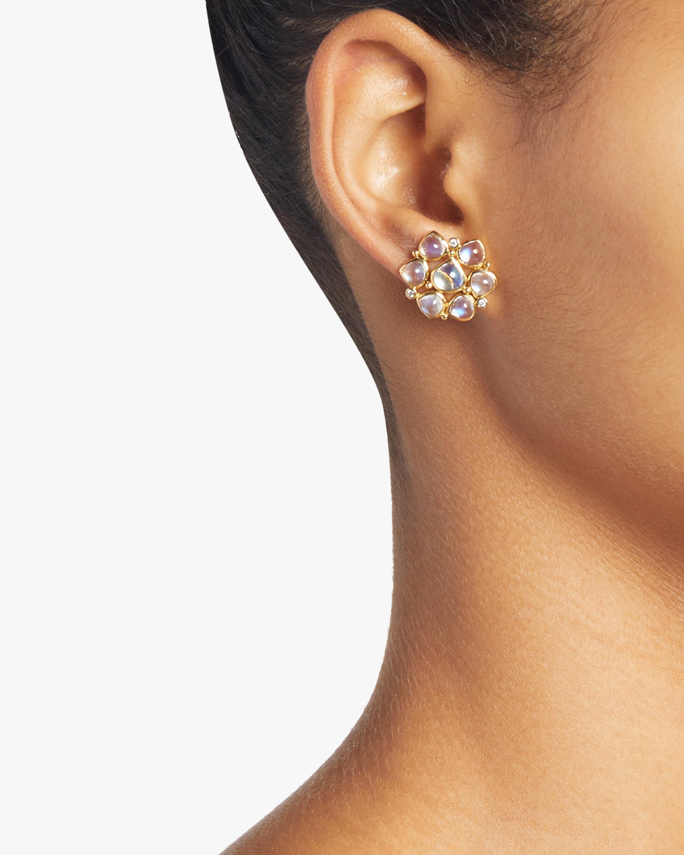 Moonstone and Diamond Cluster Earrings
