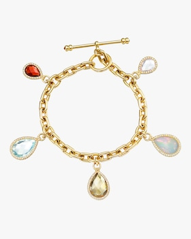 Gemstone Flip Charm Bracelet