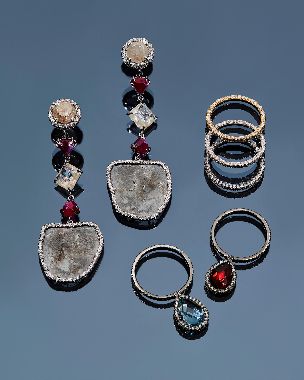 Diamond Slice Drop Earrings