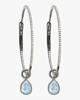 Blue Topaz Gold Hoop Earrings