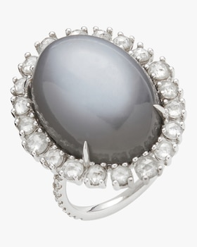 Grey Moonstone Cushion Ring