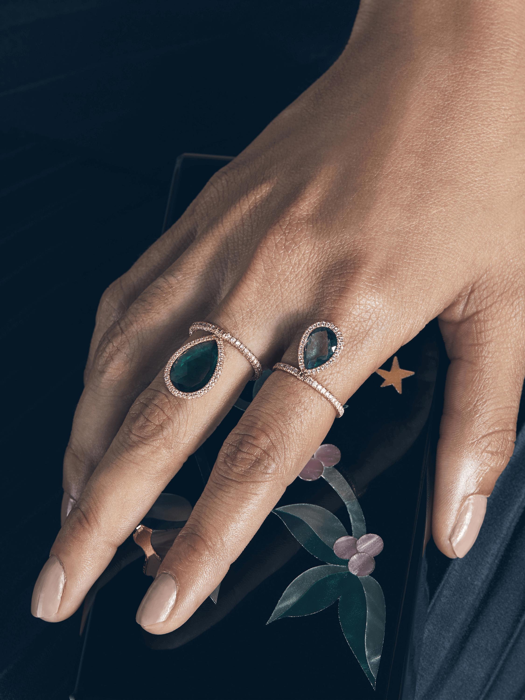 Large Green Quartz Flip Ring