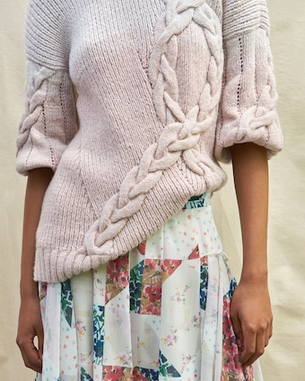 Juana Crew Neck Cable Pullover Sweater