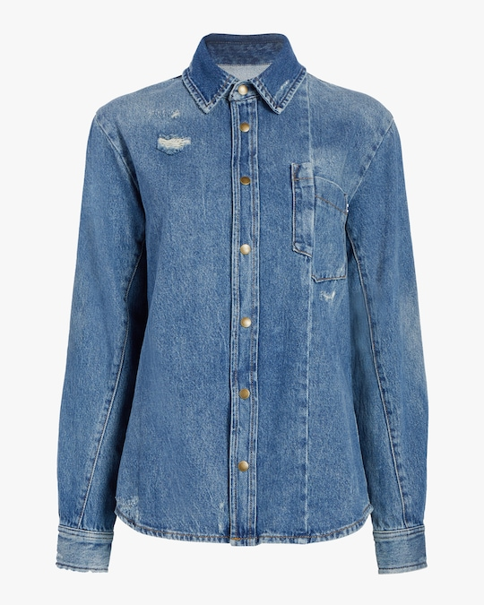 McQ Alexander McQueen Twisted Denim Shirt 0