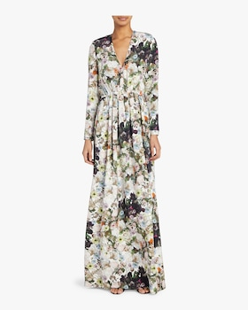 Printed Silk Crepe Gown