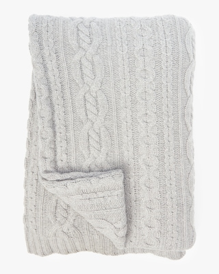 Sofia Cashmere Mixed Cable Throw Blanket 2