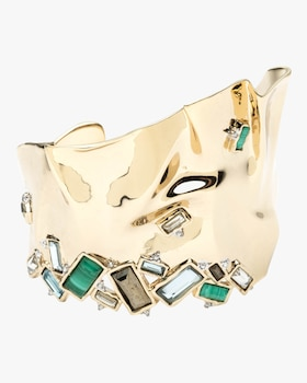 Crumpled Gold Stone Cuff