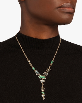 Molten Metal Multi-Stone Y Necklace