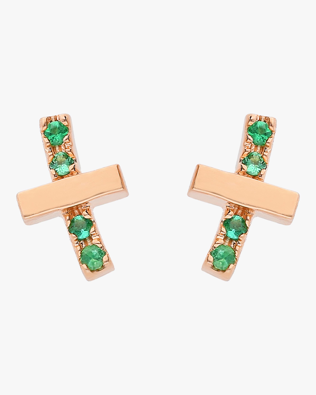 Emerald Criss Cross Studs