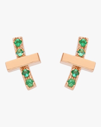 Emerald Criss Cross Studs