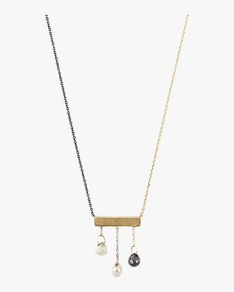 Diamond Briolette Bar Necklace