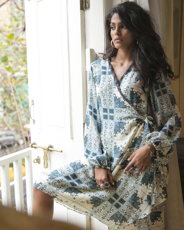 Blouson Wrap Dress