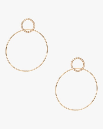 Pavé Single Circle Hinge Earrings