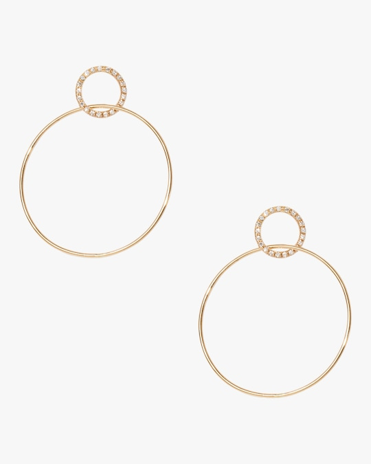Sophie Ratner Pavé Single Circle Hinge Earrings 0