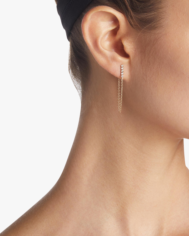 Five Diamond and Chain Earrings
