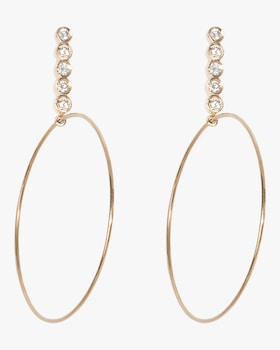 Large Five Diamond Drop Hoops