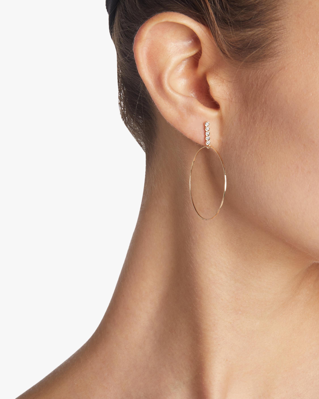 Sophie Ratner Large Five Diamond Drop Hoops 2