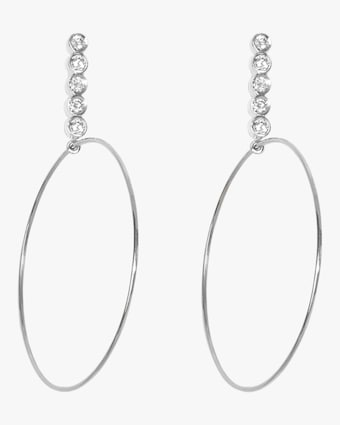 Sophie Ratner Large Five Diamond Drop Hoops 1