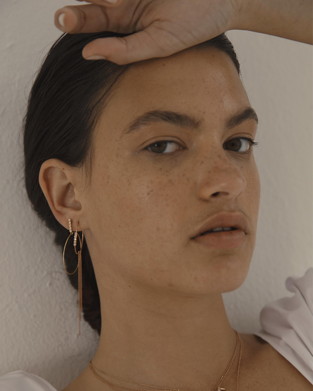 Sophie Ratner Large Five Diamond Drop Hoops 1