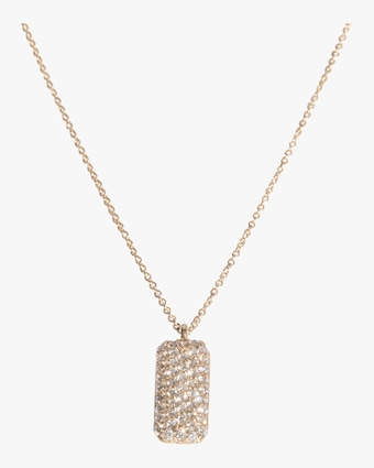 Vertical Diamond Studded Tag Necklace