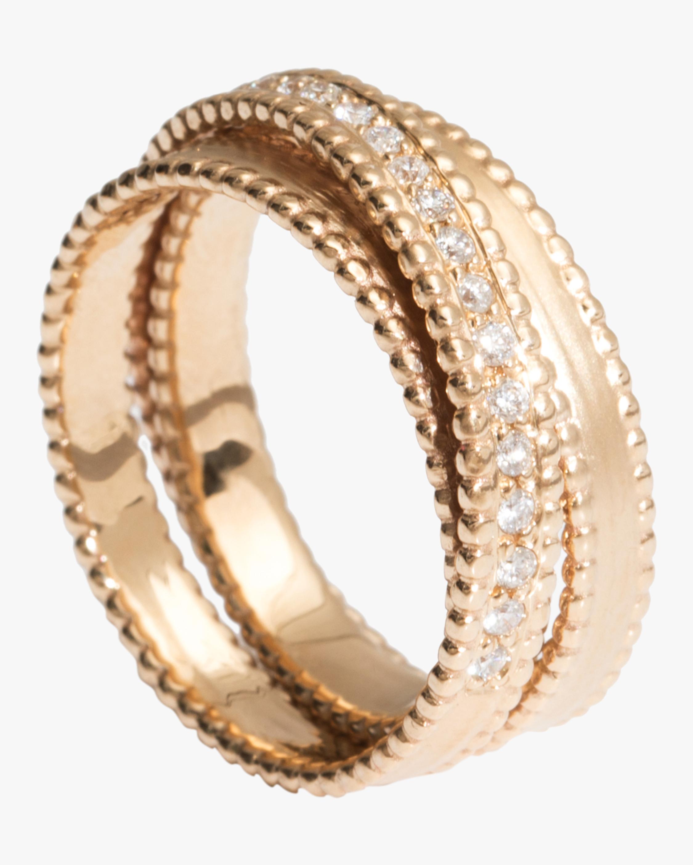 Half Embedded Diamond Spiral Ring