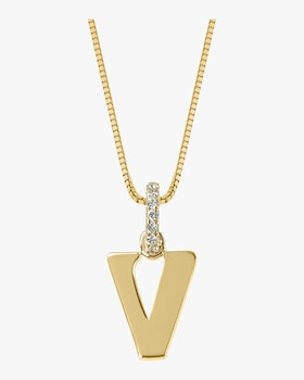 Diamond Letter V Charm
