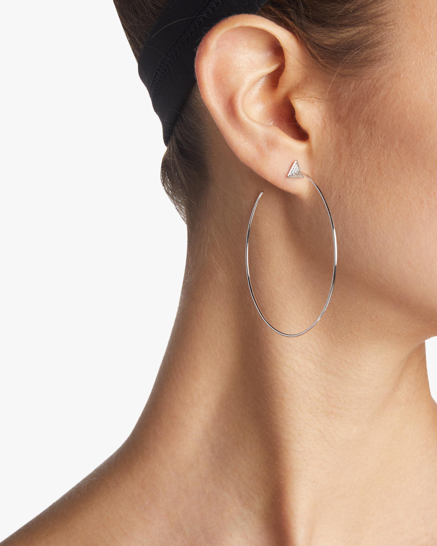 Pyramid Hoop Diamond Earrings