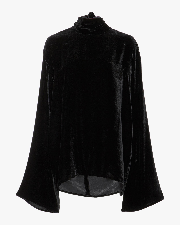 Silk Velvet Bow Tie Shirt