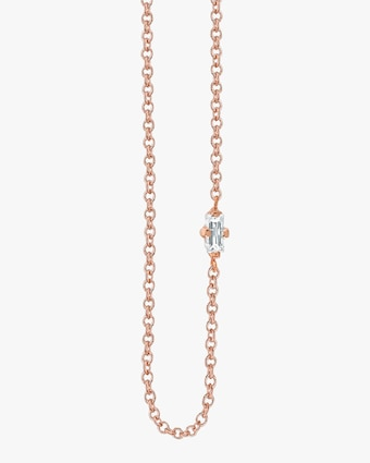Baguette White Diamond Floating Necklace