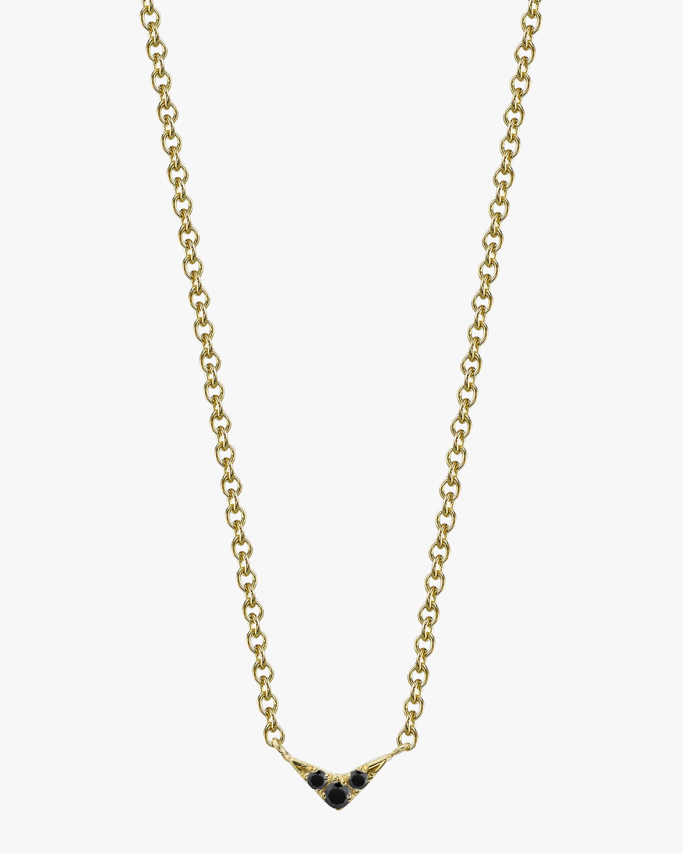 V Pendant Necklace with Black Diamond Pave