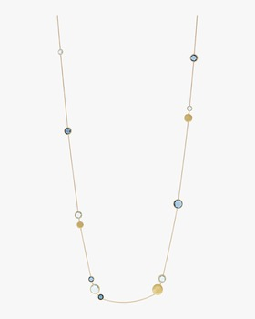 Gold and Mixed Blue Topaz Long Necklace