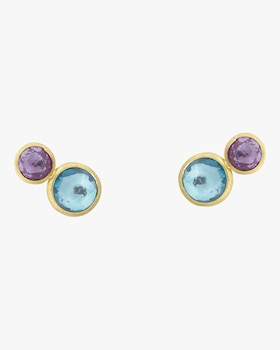 Topaz and Amethyst Two Tone Stud Earrings