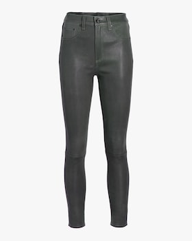 High Rise Ankle Skinny Leather Pant