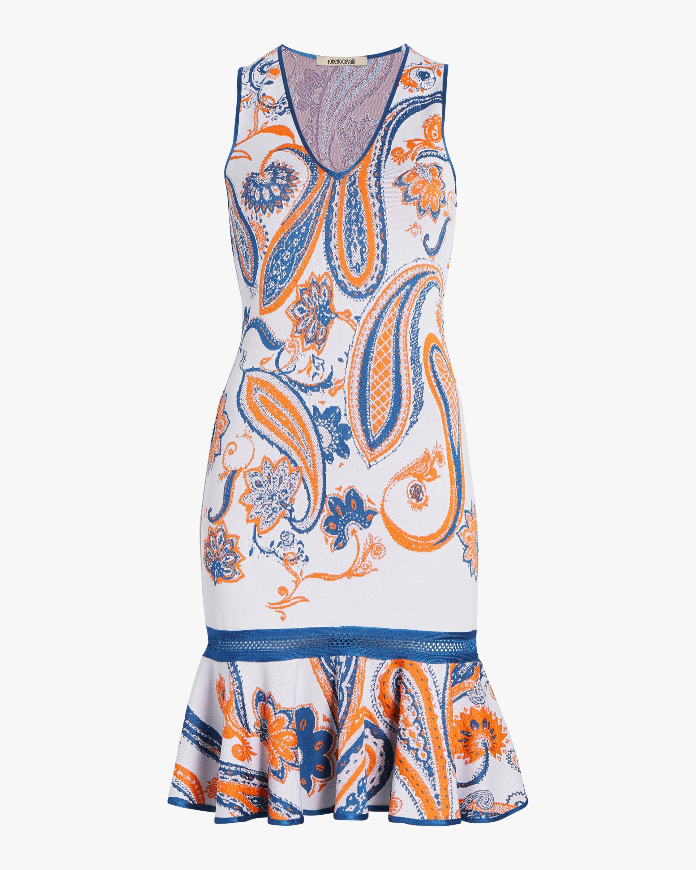 Roberto Cavalli Paisley Jacquard Crochet Dress 0