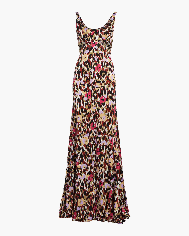 Roberto Cavalli Ikat Leopard Print Satin Dress 1