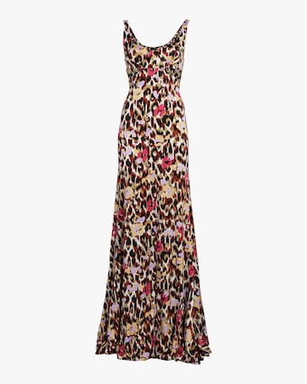 Ikat Leopard Print Satin Dress