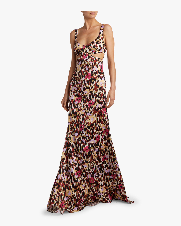 Ikat Leopard Print Satin Dress