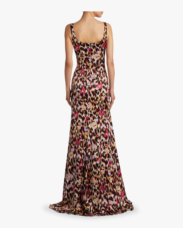 Ikat Leopard Print Satin Dress Roberto Cavalli