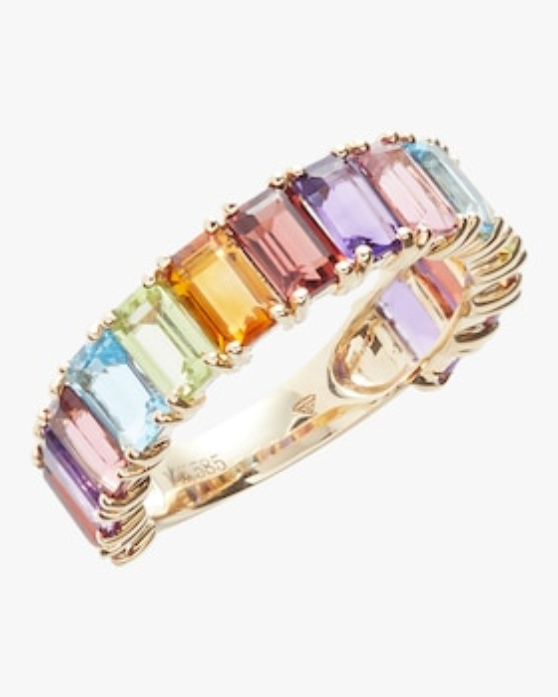 Rainbow Gemstone Diamond Ring